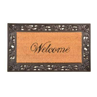 Outdoor Welcome 1 ft. 6 in. x 2 ft. 6 in. Coir and Rubber Door Mat