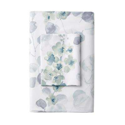 Plum Blossom Wrinkle-Free 300-Thread Count Sateen Flat Sheet
