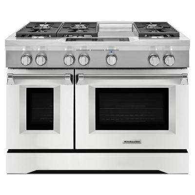 48 in. 6.3 cu. ft. Dual Fuel Range with Convection Oven in Imperial White