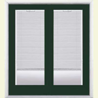 72 in. x 80 in. Conifer Prehung Right-Hand Inswing Mini Blind Fiberglass Patio Door with Brickmold