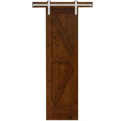 Beau Rustic 2 Panel Stained Knotty Alder Interior Barn Door Slab With Sliding  Door Hardware