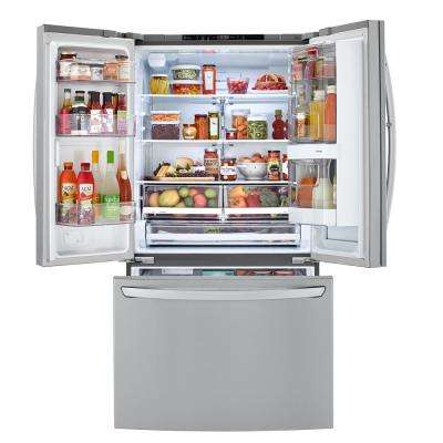 23 cu. ft. French Door Refrigerator with InstaView Door-in-Door in PrintProof Stainless Steel, Counter Depth
