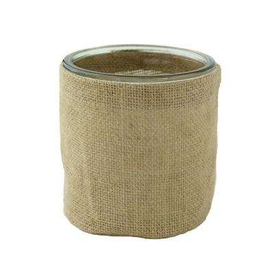 5 in. Round Burlap with Glass Cylinder