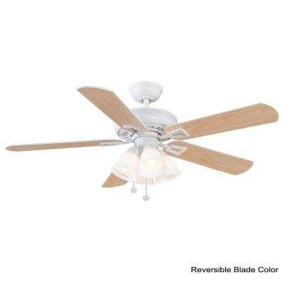 Lyndhurst 52 in. LED Matte White Ceiling Fan with Light Kit