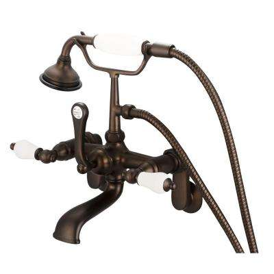 3-Handle Vintage Claw Foot Tub Faucet with Hand Shower and Porcelain Lever Handles in Oil Rubbed Bronze