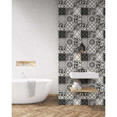 Black and White Graphic Tile Peel and Stick Wallpaper