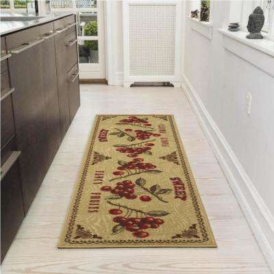 Siesta Collection Beige 1 ft. 8 in. x 4 ft. 11 in. Fruits Design Runner Rug