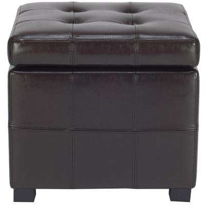 Kerrie Square Birchwood Storage Ottoman in Brown