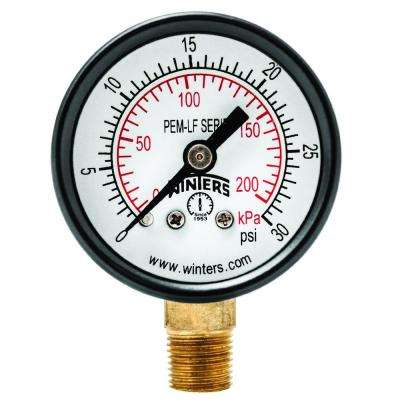 PEM-LF Series 1.5 in. Lead-Free Brass Pressure Gauge with 1/8 in. NPT LM and 0-30 psi/kPa