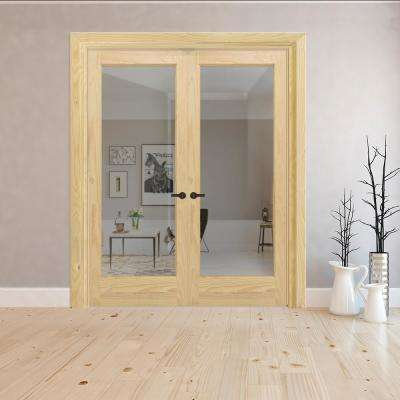 60 in. x 80 in. Universal 1-Lite Clear Glass Unfinished Pine Double Prehung Interior French Door with Nickel Hinges
