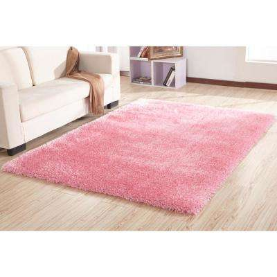 """""""Chubby Shaggy"""" Hand Tufted Area Rug in Pink (8-ft x 11-ft)"""