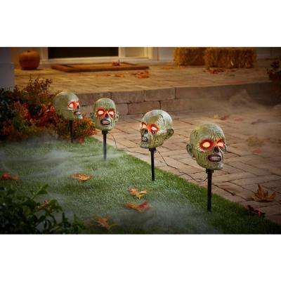 15 in. LED Zombie Head Pathway Markers with Timer (4-Pack)