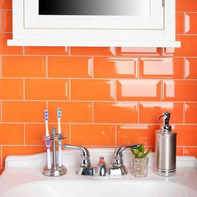 Park Slope Beveled Subway Tangerine Orange 3 in. x 6 in. Ceramic Wall Tile (36 cases / 690.48 sq. ft. / pallet)