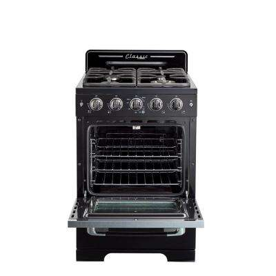 Classic Retro 24 in. 2.9 cu. ft. Gas Range with Convection Oven in Midnight Black