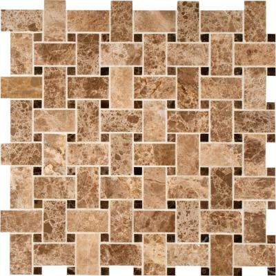Emperador Light Basketweave 12 in. x 12 in. x 10 mm Polished Marble Mesh-Mounted Mosaic Tile (10 sq. ft. / case)
