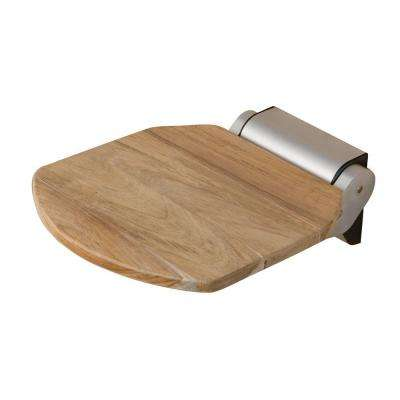 14 in. Teak Wall Mount Folding Shower Seat in Unfinished Teak