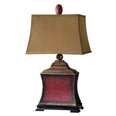 33 in. Red Woven Table Lamp