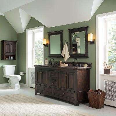 Moorpark 61 in. W x 22 in. D Double Bath Vanity in Burnished Walnut with Granite Vanity Top in Brown