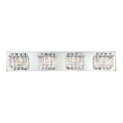 Crown 4-Light Chrome Vanity Light with Clear Crystal Glass