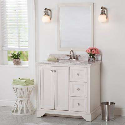Stratfield 37 in. W x 22 in. D Bathroom Vanity in Cream with Stone Effect Vanity Top in Winter Mist with White Sink