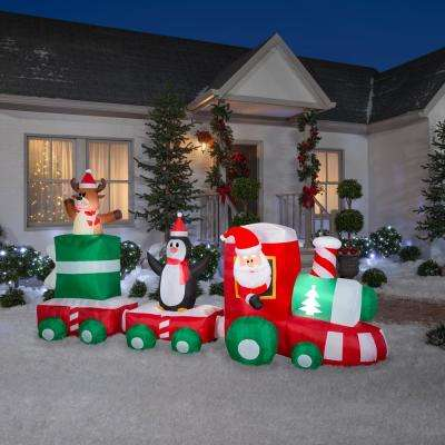 6 ft. H x 11.5 ft. L Pre-Lit Airblown Inflatable Christmas Train Scene with Santa, Penguin and Reindeer