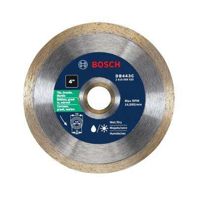 4 in. Premium Continuous Rim Diamond Blade for Small Grinders and Tile Cutters for Clean Cuts in Tile Materials