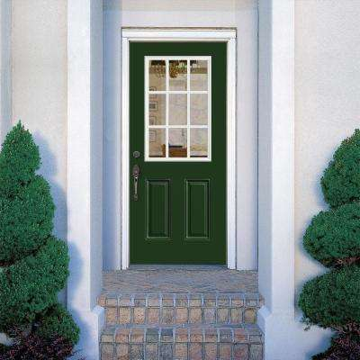 36 in. x 80 in. 9 Lite Left Hand Inswing Painted Smooth Fiberglass Prehung Front Exterior Door with No Brickmold