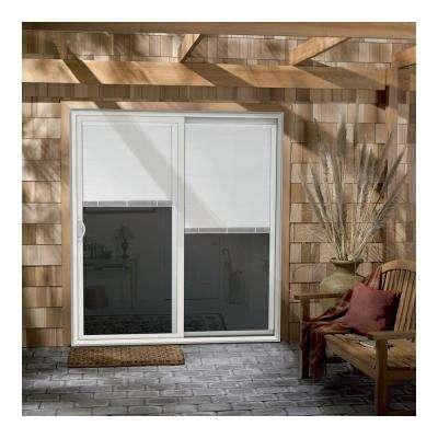 60 in. x 80 in. V-2500 White Vinyl Right-Hand Full Lite Sliding Patio Door w/White Interior & Blinds