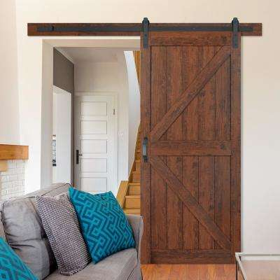 36 in. x 84 in. K-Bar Auburn Interior Sliding Barn Door Slab with Hardware Kit