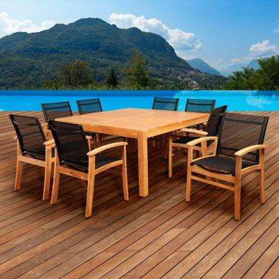 Elliot 9-Piece Teak Square Patio Dining Set with Black Sling Chairs