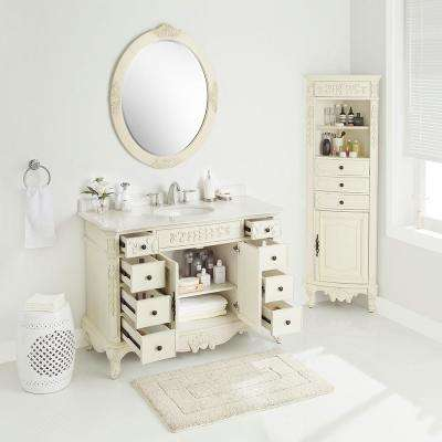 Winslow 48 in. W x 22 in. D Vanity in Antique White with Marble Vanity Top in White with White Sink