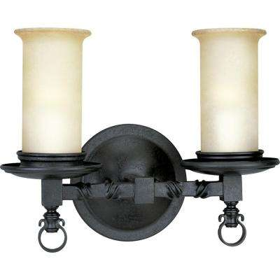 Santiago Collection 2-Light Forged Black Bath Light