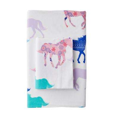 Prancing Ponies Cotton Flannel Fitted Sheet