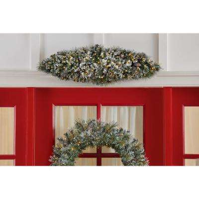 36 in. Sparkling Amelia Pine Battery Operated Pre-lit Artificial Christmas Door Swag with 50 Warm White Micro-Dot Lights