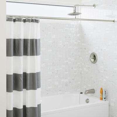 1-Spray 8 in. Single Wall Mount Fixed Rain Shower Head in Brushed Nickel