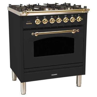 30 in. 3.0 cu. ft. Single Oven Dual Fuel Italian Range True Convection, 5 Burners, LP Gas, Brass Trim in Matte Graphite