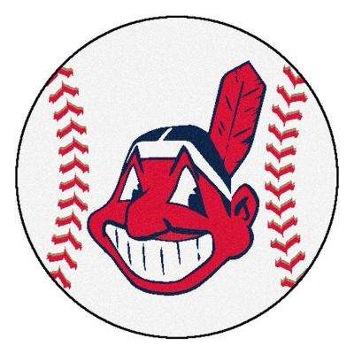 MLB Cleveland Indians White 2 ft. 3 in. x 2 ft. 3 in. Round Accent Rug
