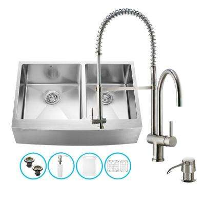All-in-One Farmhouse Apron Front Stainless Steel 33 in. Double Bowl Kitchen Sink in Stainless Steel