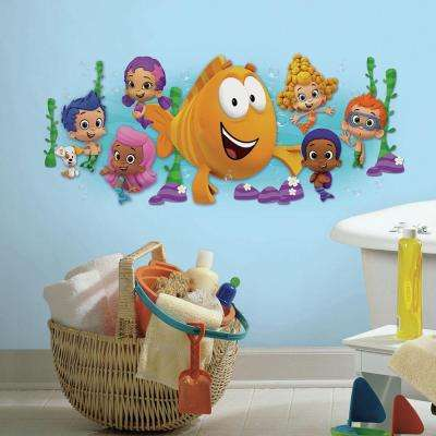 5 in. x 19 in. Bubble Guppies Character Burst Peel and Stick Giant Wall Decal