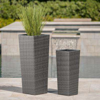Gray Polyethylene Wicker Tapered Flower Pots with Iron Frame (2-Pack)