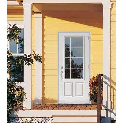 32 in. x 80 in. 12 Lite Primed Steel Prehung Left-Hand Outswing Back Door