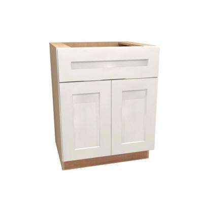 30x34.5x24 in. Newport Assembled Sink Base Cabinet with False Drawer Front in Pacific White