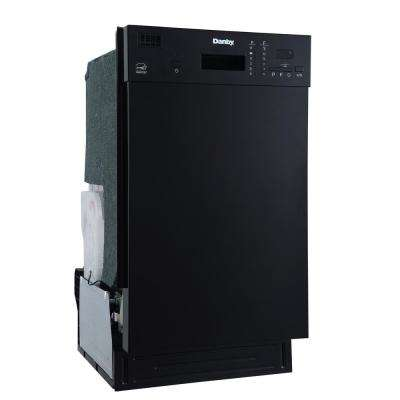 18 in. Front Control Dishwasher in Black