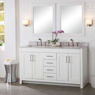 Westcourt 61 in. W x 22 in. D Bath Vanity in White with Stone Effect Vanity Top in Winter Mist with White Sink