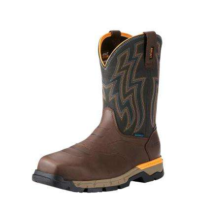 Men's Chocolate Brown Rebar Flex Waterproof Composite Toe Pull On Work Boot