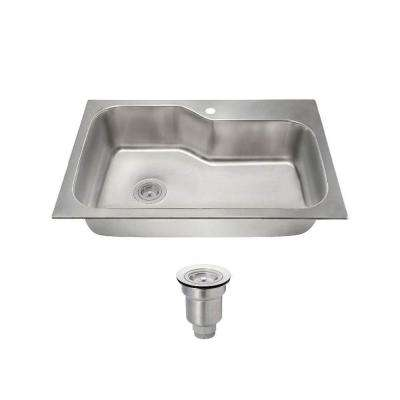 All-in-One Dualmount Stainless Steel 33 in. 1-Hole Single Bowl Kitchen Sink