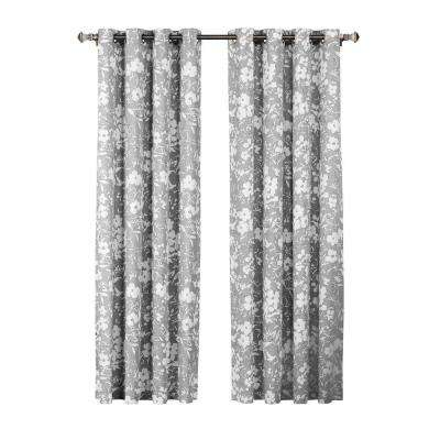 Florabotanica Printed Cotton Grommet Extra Wide Curtain Panel, 52 in. W x 84 in. L (1 Pair)