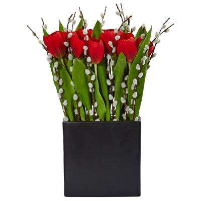 Indoor Tulips and Willow Silk Arrangement in Black Square Vase