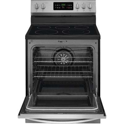 30 in. 5.4 cu. ft. Single Oven Electric Range with Self-Cleaning Convection Oven in Stainless Steel