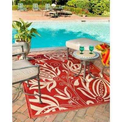 Courtyard Red/Natural 8 ft. x 11 ft. Indoor/Outdoor Area Rug